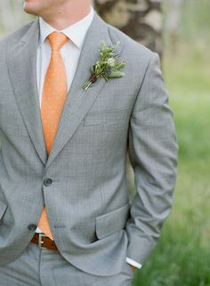 Orange and Grey Wedding in Jackson Hole