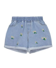 Floral Embroidery Elastic Waist Denim Shorts - Shorts - Clothing - All Products