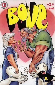 Bone 6 - Old People - Flower - Black T-shirt - Star - Muscle - Jeff Smith