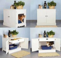 Amazon.com: Pet Studio Litter Box Cabinet for Pets, Newport White: Pet Supplies...hide litter box
