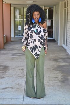 Style Pantry | Leopard Print Blouse + Flared Olive Khakis
