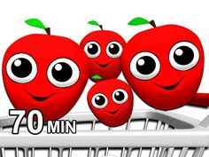 """""""Apples Are Yummy"""" & More   Learn Colors, Fruits & Vegetable Names, 3D Toddler Songs, Busy Beavers - YouTube"""