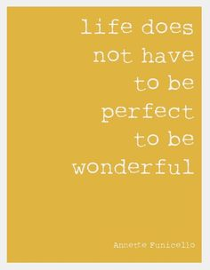 life does not have to be perfect to be wonderful