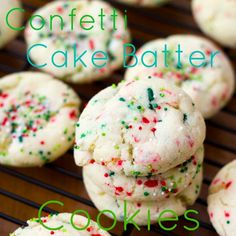 holiday confetti cake batter cookies.