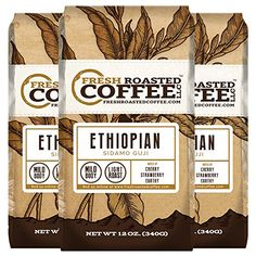 Ethiopian Natural Sidamo Guji Coffee 12Ounce Bags Pack of 3 Ground Fresh Roasted Coffee LLC -- For more information, visit image link.