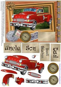 Red Retro Car Male Birthday or other 2 on Craftsuprint - Add To Basket!