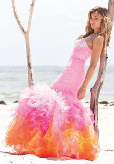 Pink prom gown with gorgeous ruffles