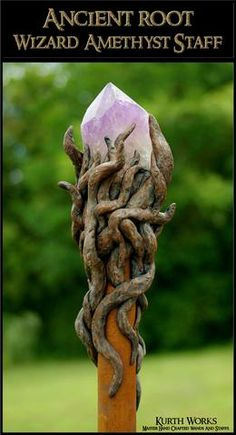 Ancient Root Wizard Amethyst Crystal Point Magic Staff