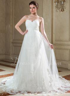 Forme Empire Bustier en coeur Traîne chappelle Mousseline Tulle Robe de mariée avec Plissé Dentelle (002011724) - DressFirst