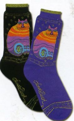 "Laurel Burch Socks ""Rainbow Cats""  I  love her socks  Always a conversation started"