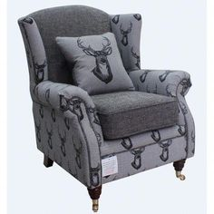 Wing Chair Fireside High Back Armchair Antler Stag Charcoal Grey - Designer Sofas Winged Armchair, Armchair, Upholstery, Chair, Sofa Design, Leather Wingback Chair, Wingback Chair, Living Room Furniture Sale, Furniture