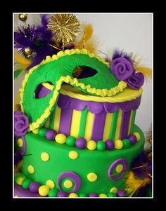 Mardi Gras Cake..use a theme for Bunco get-together desserts.