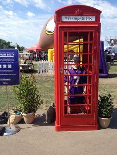 Vikings Fan in the red phone booth at Training Camp | #VikingsInUK
