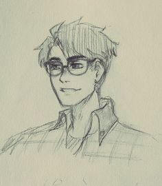 "just-themys: ""I drew a JJ with glasses. Because. Also the boyfriend(s)'s reaction : """