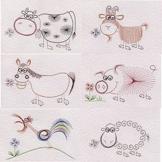 Value Pack No. 43: Farm animals | Animals and Birds e-patterns at Stitching Cards.