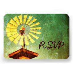 Distressed Rustic Windmill Wedding RSVP Cards