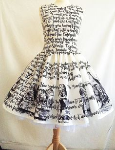 Beautiful special Occasion Dresses, if you are looking for something a little bit Unique!  This one is a gorgeous Literature dress, printed with some of the text from Alice In Wonderland and decorated with some of the original Alice Images.  My dresses are beautifully made, not mass produced, made to last, And made professionally in the UK.  **ALTERNATIVE PROM DRESS**  The length is 19 from the waist band.If you would like a longer length please choose longer length option.  ***PHOTOGRAPHED…