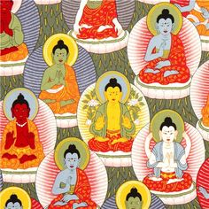 colourful Buddha fabric by Alexander Henry from the USA