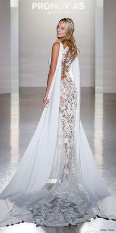 pronovias 2017 bridal sleeveless trumpet wedding dress (niara) mv cape lace train
