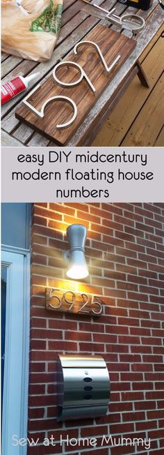 Mid-century Modern House Numbers Tutorial - Using Home Depot Paint Sticks! easy DIY midcentury modern floating house numbers / address numbers using paint sticks! Midcentury Modern, Midcentury House Numbers, House Numbers Modern, Diy House Numbers, Midcentury Outdoor Lighting, House Number Signs, Diy House Number Plaques, Farmhouse House Numbers, Illuminated House Numbers
