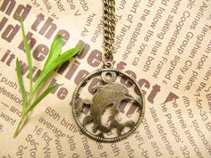 SALE -- dolphins pendant with charm chain jewelry Fashion Jewelry antique jewelry steampunk gift