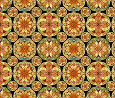 GOLD FLOWER MANDALA BLACK RAIN BUBBLES fabric by paysmage on Spoonflower - custom fabric