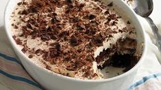 "Pound-Cake Tiramisu: ""Easy Peasy"" with a 15 minute prep time. Uses pound cake instead of ladyfingers.I have several pound cake recipes that are super easy and super delicious. Easy Potluck Recipes, Make Ahead Desserts, Just Desserts, Sweet Recipes, Cake Recipes, Dessert Recipes, Cooking Recipes, Cookbook Recipes, Potluck Ideas"