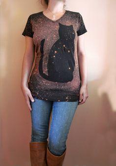 Cat Shirt Women  Cat tshirt  Cat Galaxy Shirt  by Michelebuttons, $32.00