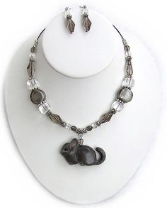 Custom Grey Chinchilla Necklace Set by parrotjewelry, via Flickr