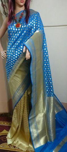 Indian Pakistani Ethnic Soft Cotton With Gold Zari Waving Saree New Design VV