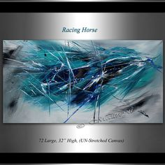 Abstract Painting 72 Teal and black Abstract Oil by largeartwork