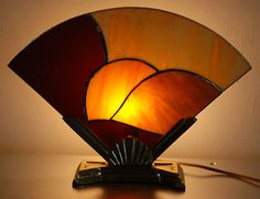 Art Deco Style Stain Slag Glass Fan Table TV Lamp Light | eBay