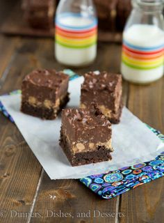 Peanut Butter Crunch Brownies - some of the most decadent brownies every!  Fudgy brownies with a layer of peanut butter cups and a layer of crunch peanut butter and chocolate fudge!