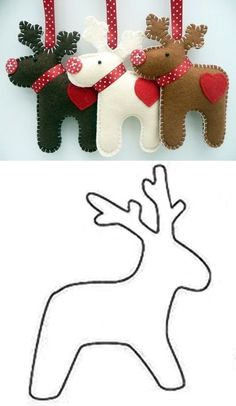 deco de noel en feutrine - SAVING TIP – Kreation, Recycling: Weihnachten - Felt Christmas Decorations, Christmas Tree Crafts, Felt Christmas Ornaments, Christmas Sewing, Noel Christmas, Christmas Projects, Holiday Crafts, Fabric Ornaments, Handmade Christmas Decorations