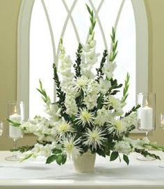Enchanted Love Altar Arrangement at From You Flowers 2019 White flowers alter arrangement with mums and gladioli The post Enchanted Love Altar Arrangement at From You Flowers 2019 appeared first on Flowers Decor. Alter Flowers, Church Flowers, Funeral Flowers, White Flowers, Beautiful Flowers, Wedding Flowers, Tropical Flowers, White Mums, Spring Flowers