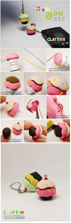 DIY Tutorial FIMO Polymer clay - cute and kawaii cupcake Crea Fimo, Fimo Clay, Polymer Clay Projects, Polymer Clay Charms, Polymer Clay Art, Polymer Clay Jewelry, Clay Crafts, Polymer Clay Miniatures, Polymer Clay Creations