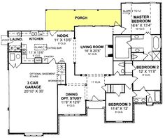 floor plans aflfpw04628 1 story farmhouse home with 3 bedrooms 2 bathrooms and 2436 total square feet house plans pinterest square feet