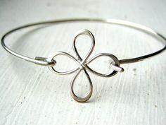 Flower Petal Clover Bangle Bracelet