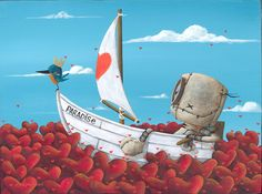 """"""" Sailing takes me away"""" Canvas and its Companion Piece """" Brings me Joy """" New Release from Art Center Gallery Fabio Napoleoni. Art Center Gallery is happy to announce the release of """"Sailing takes me"""