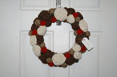 Winter Christmas Jute Yarn Wreath/Burlap by LizzyDesigns on Etsy