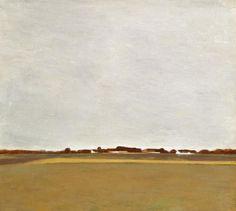 Vilhelm Hammershøi (1864-1916) Danish Painter.  Rainy Summer Landscape from Virum near Frederiksdal