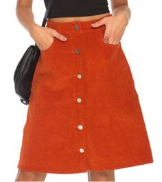 Sweet Buttoned Solid Color A-Line Corduroy Skirt For WomenSkirts | RoseGal.com
