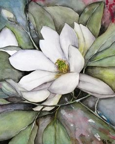 (Link broken, but beautiful painting & inspiration for Magnolia Watercolors - Paintings of White Magnolias Original Flower Artwork Watercolour Painting, Watercolor Flowers, Painting & Drawing, Watercolours, Art Floral, Flower Artwork, Paintings Of Flowers, Flower Wall, Painting Inspiration