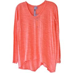 Wilt Scoop Neck Long Sleeve Tee in Coral ($90) ❤ liked on Polyvore