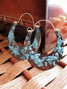 New summer earrings on Etsy! Copper Patinaed Flat Hoop Earrings.