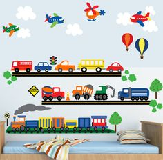 Items similar to Car Wall Decals, Airplane Wall Decal, Construction Truck Wall Decal Stickers, REUSABLE Kids Wall Decals Non-toxic Fabric Wall Decals, on Etsy Kids Wall Decals, Wall Decal Sticker, Art Wall Kids, Wall Stickers, Decoration Creche, Transportation Theme, Baby Boy Rooms, Wall Art Pictures, Nursery Themes
