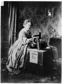 old photos of women sewing | Singer Sewing Machine advertising from 1851