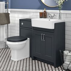 SHOP Chatsworth Traditional Graphite Semi-Recessed Vanity Unit + Toilet Package at Victorian Plumbing UK Sink Vanity Unit, Bathroom Vanity Units, Sink Units, Bathroom Layout, Small Bathroom, Bathroom Ideas, Toilet Vanity Unit, Bathroom Flowers, Cloakroom Ideas