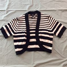 Cardigan Short, light weight, black and white, striped jacket. Only worn once, super comfy, 1/4 sleeves R&K Jackets & Coats