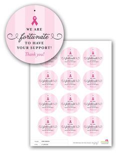 Free Printable pink ribbon favor tag for breast cancer awareness event Breast Cancer Party, Breast Cancer Fundraiser, Breast Cancer Walk, Breast Cancer Survivor, Breast Cancer Awareness, Printable Labels, Free Printables, Labels Free, Pink Ribbon Day